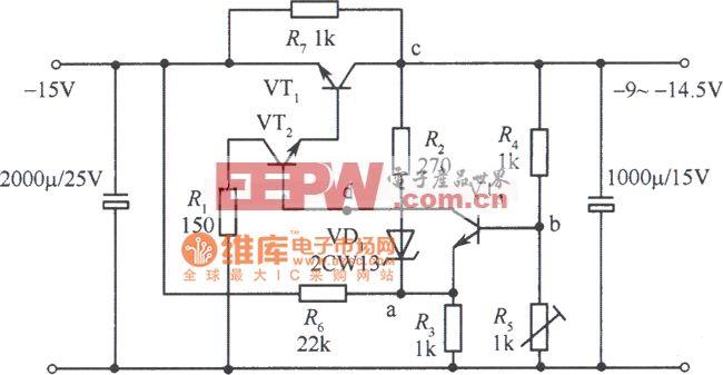 -9~-l4.5v集电极输出稳压电源电路图