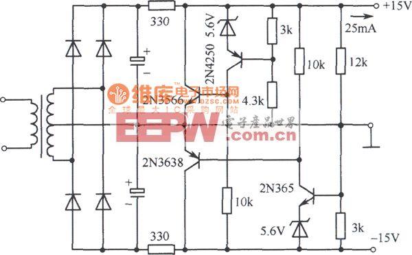 ±15V双极性并联型稳压电源电路图