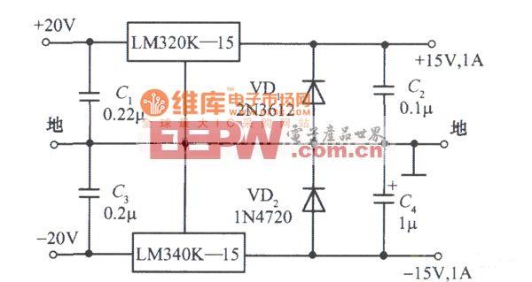 LM340K-15构成的±15V、1A对称稳压电源电路图