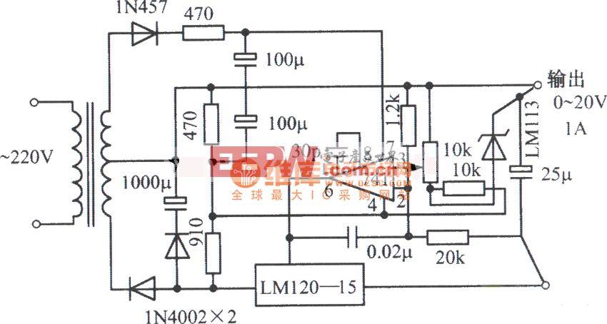 LM120-15,齐纳二极管LM741构成的0~20V、1A可调稳压电源电路图