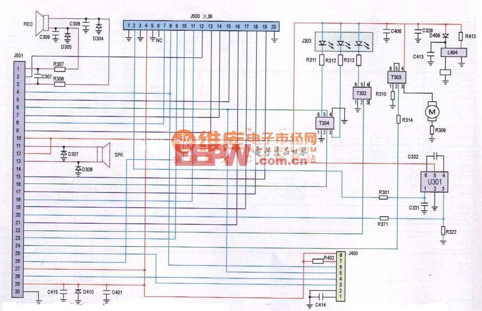 迪比特500型手机排线电路原理图