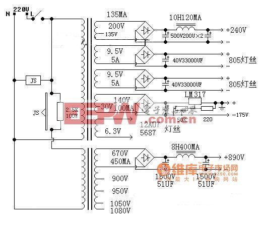 12AU7+5687推845推挽功放电路图
