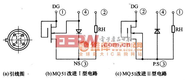MQ5l改进型氢敏元件电极引出线电路图