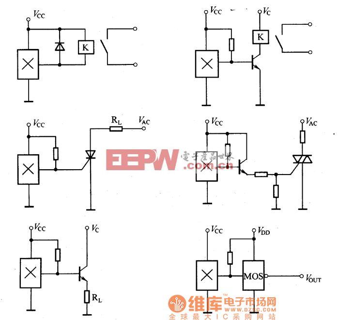 >霍尔开关集成传感器的接口电路图    霍尔线性集成传感器的结构及