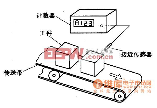 生产线工件计数装置示意电路图