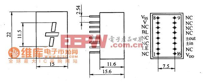 led /-符号显示组件外形电路图