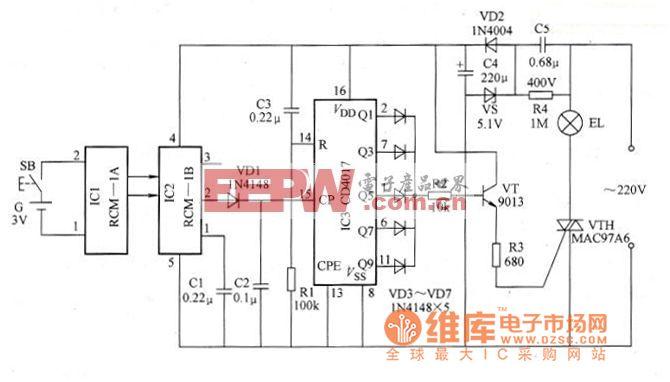 采用RCM-lA/1B的无线电遥控照明灯电路原理图