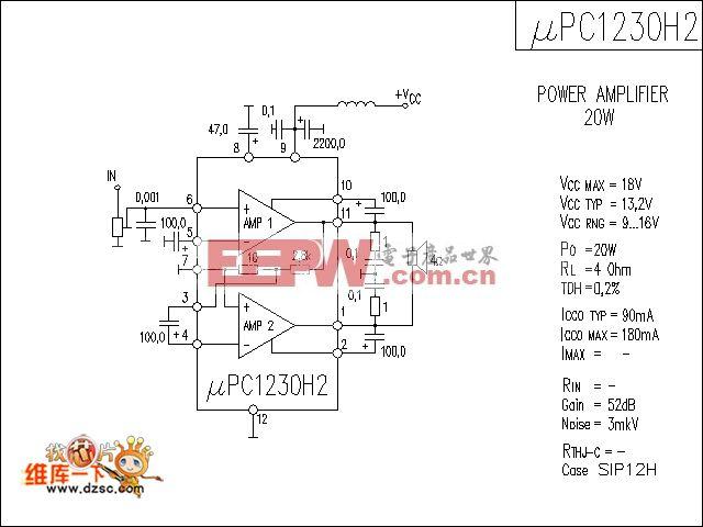 一种型号uPC1230H2的功放电路图