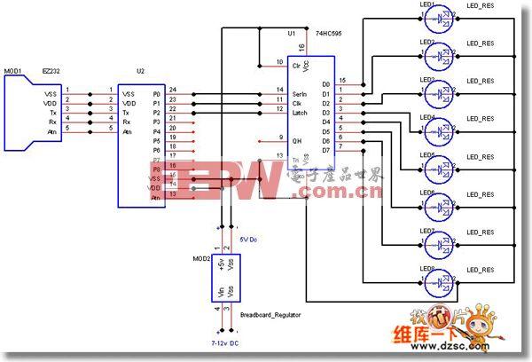8个74HC595驱动的LED电路图