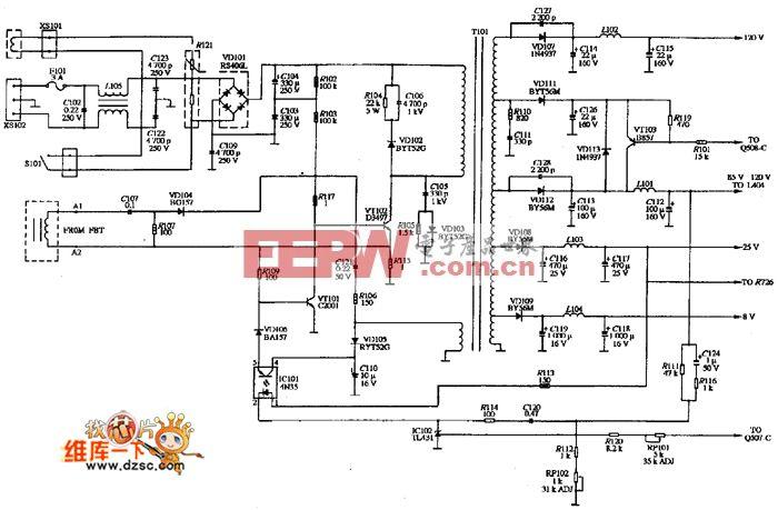 OPCON CN-1405型显示器的电源电路图
