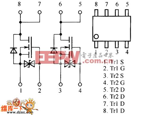 场效应晶体管sp81,sp8k2,sp8k24内部电路图