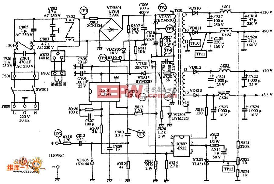 SVGA彩色显示器DELL VI-1428型的电源电路图