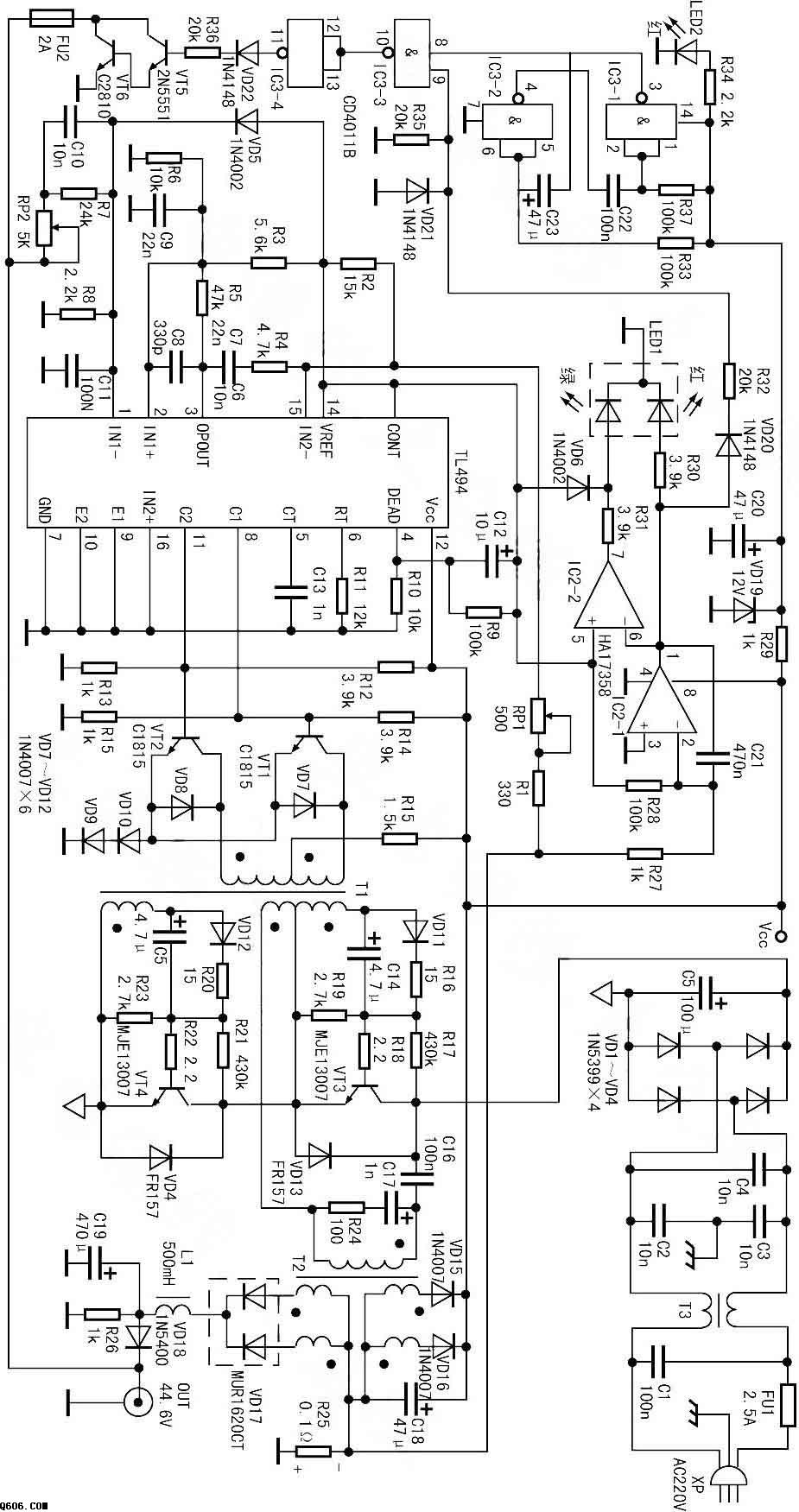 tl494制作的一款电动车充电器电路图图片