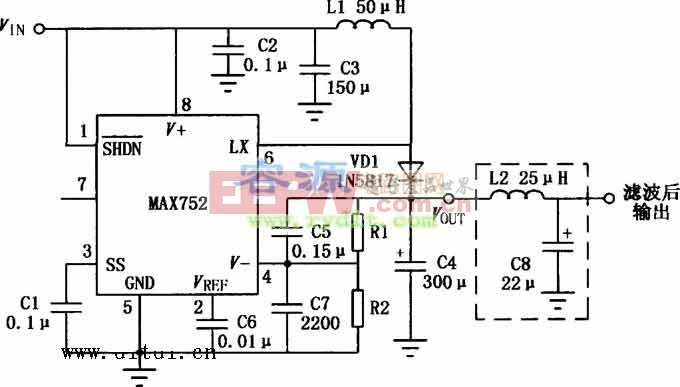 MAX752升压开关型DC/DC变换器的典型应用电路