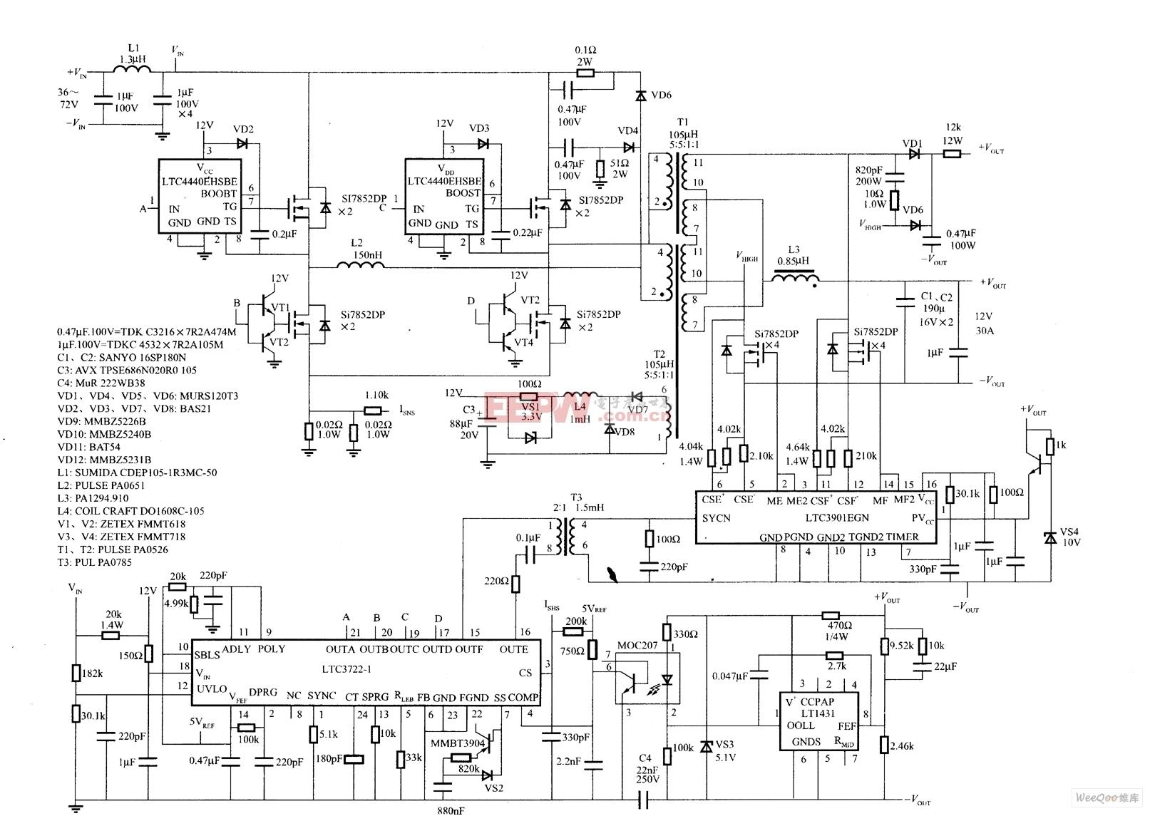 由LTC3722-1控制的大功率DC/DC完整电路图