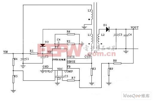 用反激式(FLYBACK)开关电源拓朴结构实现的适配器的电路图