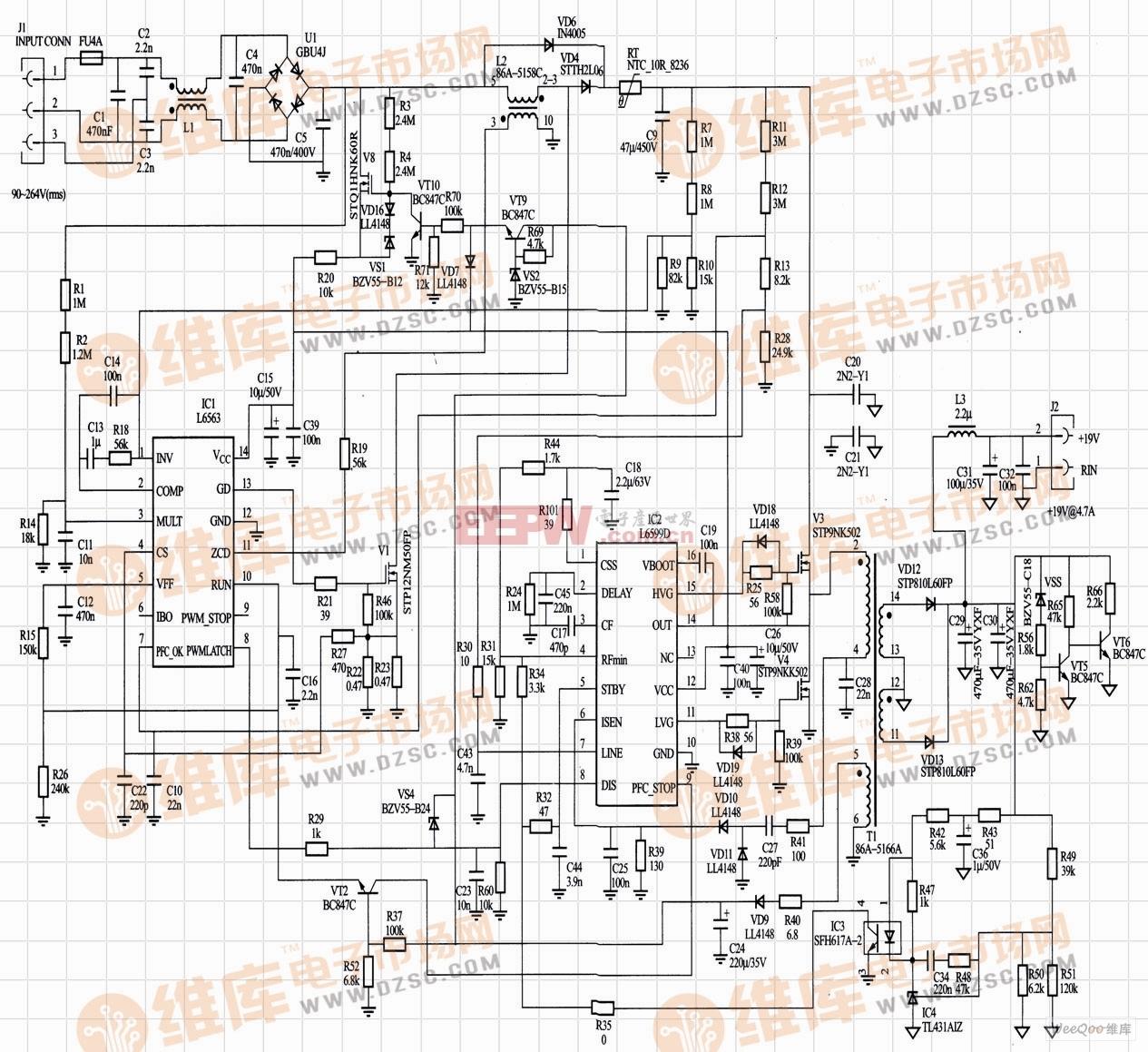 L6563和L6599组成的90W AC/DC适配器的完整电路