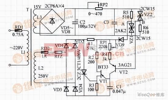 晶闸管交流自动稳压器电路图片