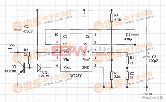 基于W723的输出负电压的应用电路