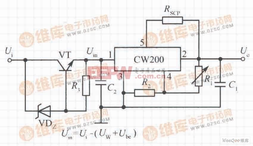 高输入电压集成稳压电源电路之三(CW200)