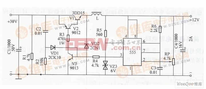 用555组成的开关型稳压电源电路