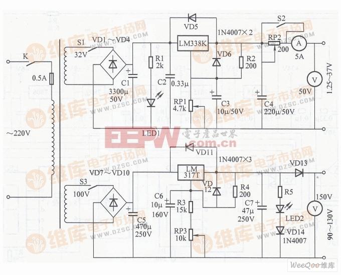 维修 充电两用稳压电源电路图图片
