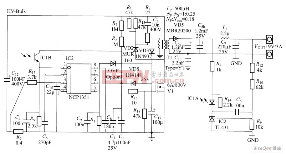 NCP1351控制的19V、3A NOTEBOOK适配器电源电路图