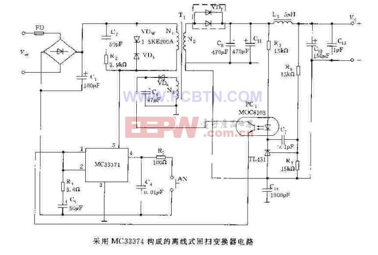 采用MC33374构成的离线式回扫变换器电路