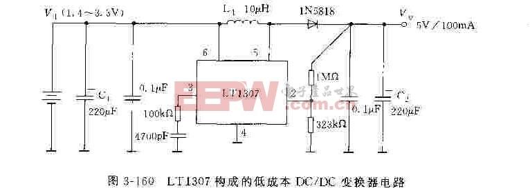 LT1307构成的低成本DC/DC变换器电路