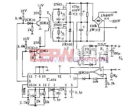 基于tl494的半桥式双端式开关电源   tl494脉宽调制器件是目图片