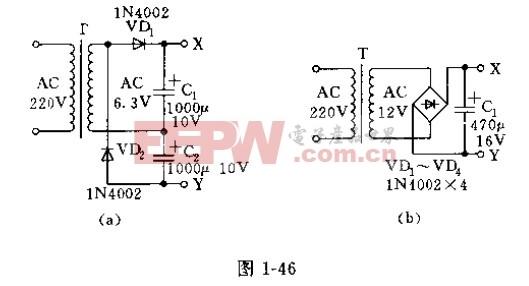 数字万用表加装稳压电源的电路原理图