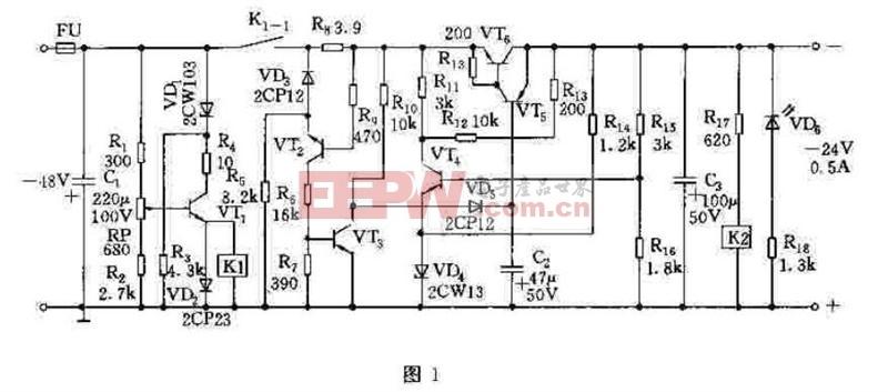 -24V、0.5A稳压电源原理图