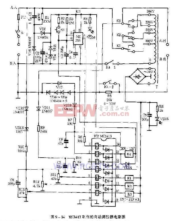 mc1413制作的 自动调压器 电路图 电子产品世 高清图片