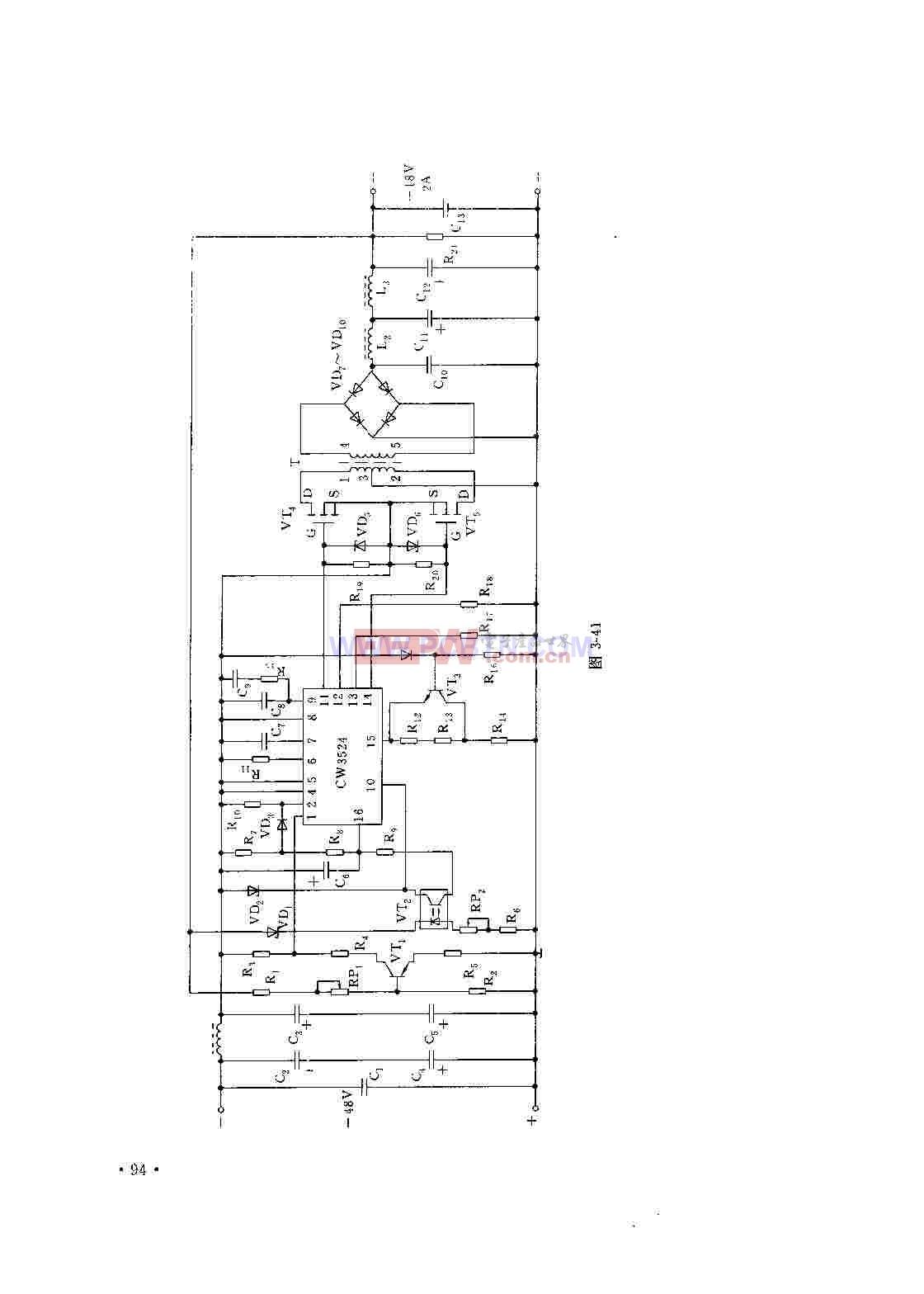 基于CW3524的脉宽调制型开关稳压电源