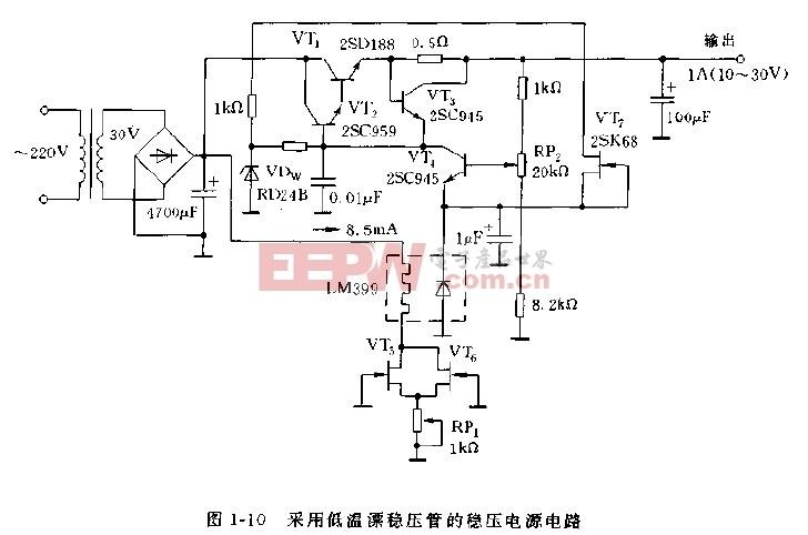 采用低温漂稳压管的稳压电源电路图