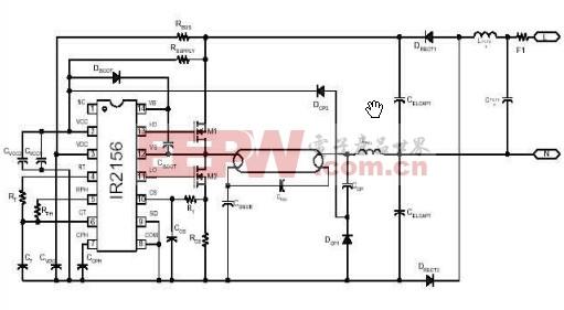 基于IR2156萤光灯集成电路的电子镇流器