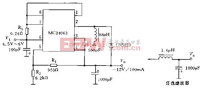 采用MC34063系列构成的极性反转型稳压电路