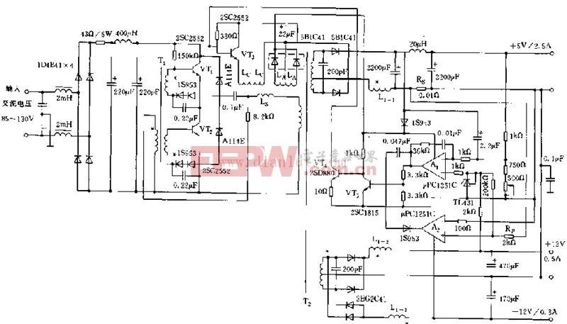 基于电源控制型磁放大器的3路稳压电源电路图
