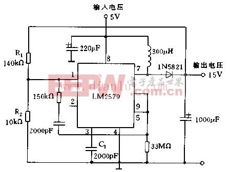 采用LM2579构成升压稳压器电路图