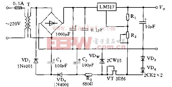 成的从0V起调稳压电源电路图图片