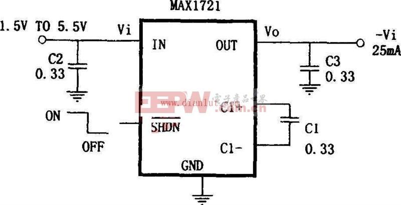 利用MAX172构成的微型极性反转电源电路