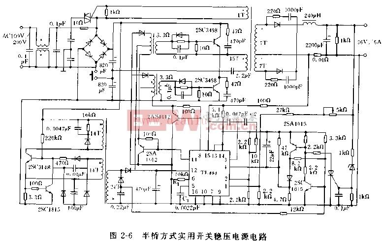 基于tl494芯片设计半桥方式实用开关稳压电源电路