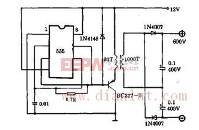 于产生高电压的直流电源电路如图所示.该电路通常用12V直流电源图片