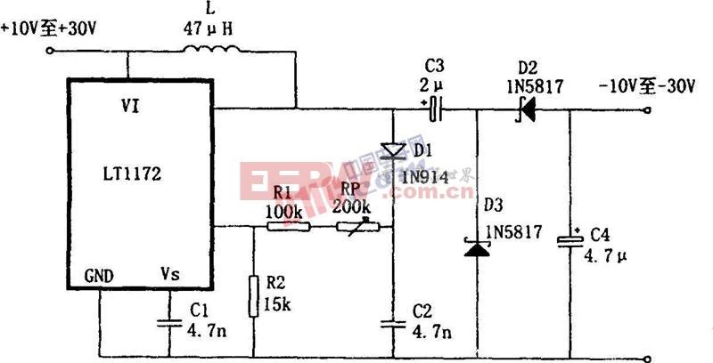 LT1172设计的极性反转型升压电源