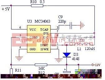 基于MC34063芯片设计5V转12V升压电路图