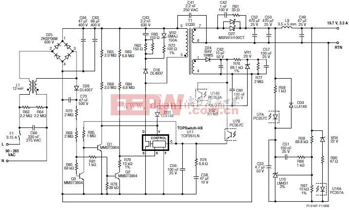 65W/19.7V/3.3A,90C265 VAC输入反激式电源电路原理图