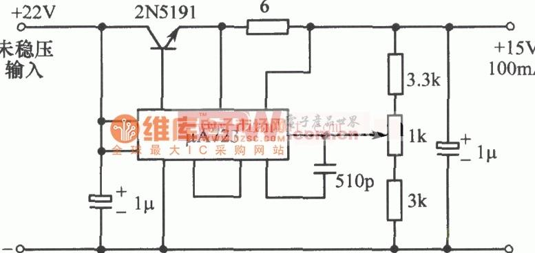 μA723-15V可调稳压电源电路