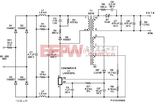 5W, 5V, 1A, 85C265 VAC输入反激式电源电路