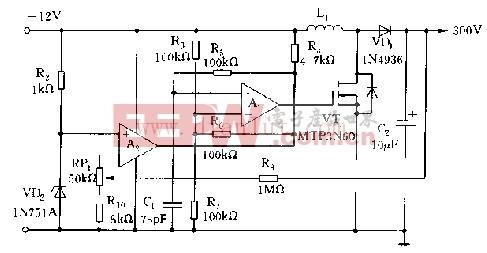 输出300V的高频率开关电源电路原理图