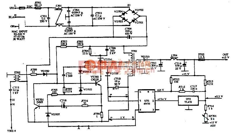 单色显示器的电源电路